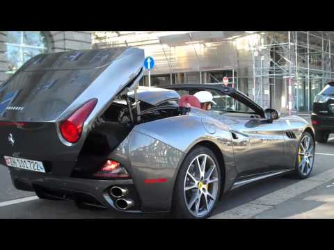 Gray Ferrari California Startup, Top- Down, and Acceleration in Zurich, Switzerland