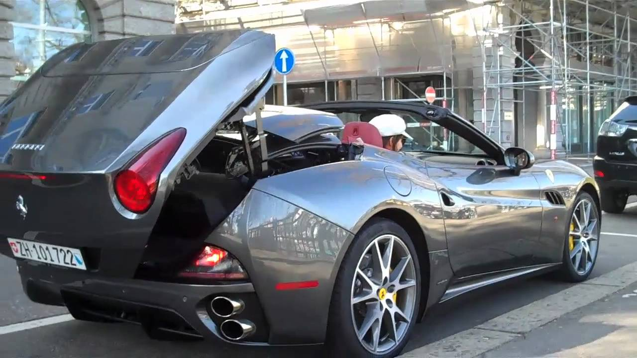 Ferrari California T >> Gray Ferrari California Startup, Top- Down, and Acceleration in Zurich, Switzerland - YouTube