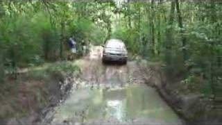 Subaru Outback crossing the puddle