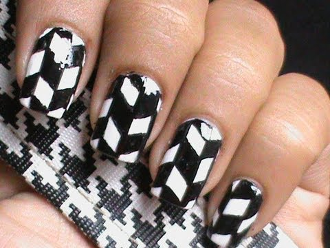 black and white nail art - handpainted