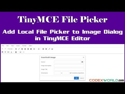 Add a Local File Picker to Image Dialog in TinyMCE - YouTube