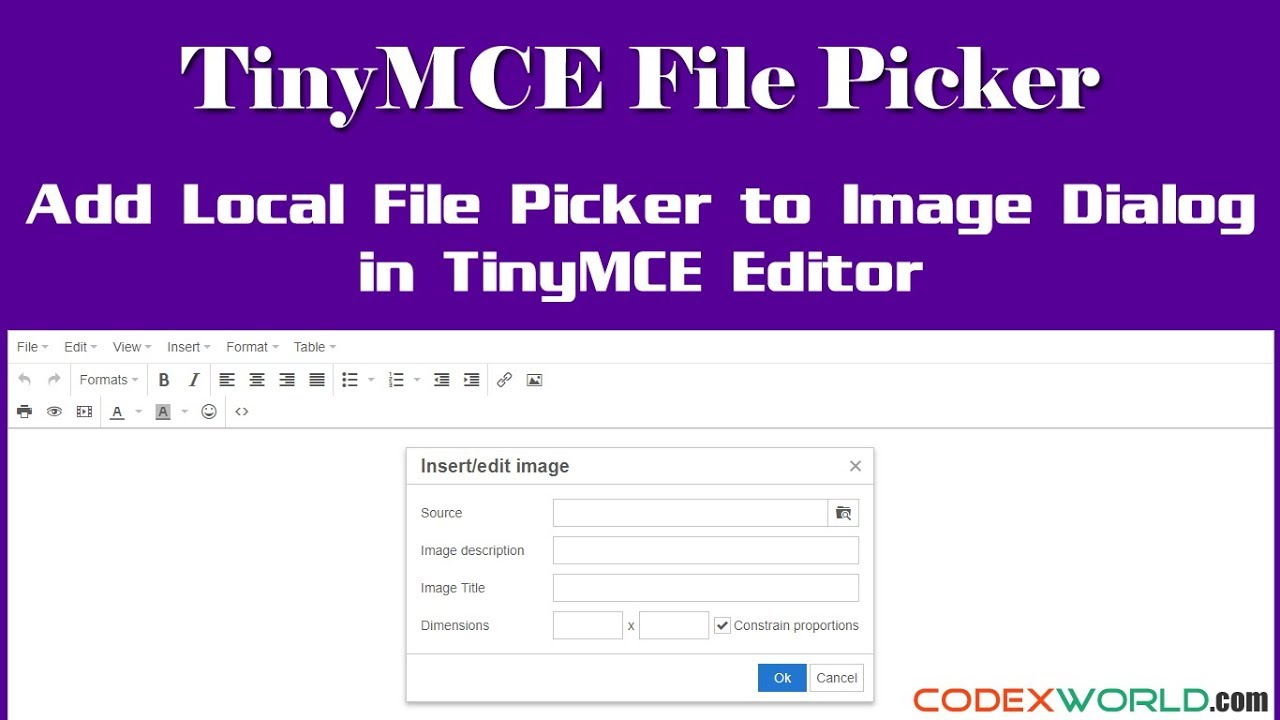 Add a Local File Picker to Image Dialog in TinyMCE - CodexWorld