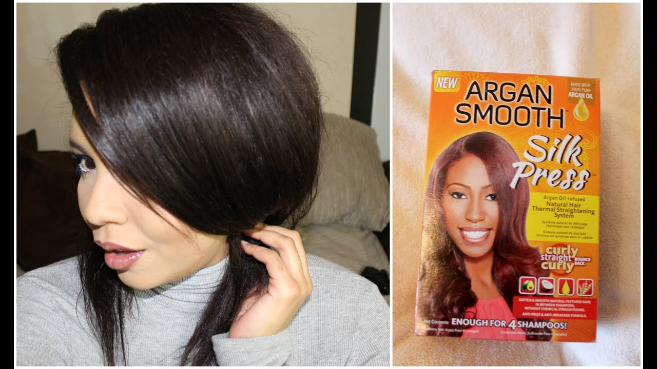 Straightening 3c Curly Natural Hair Argan Smooth Silk Press Kit Tutorial You