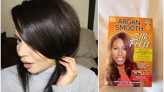 Straightening 3c Curly Natural Hair  |  Argan Smooth Silk Press Straightening Kit Tutorial