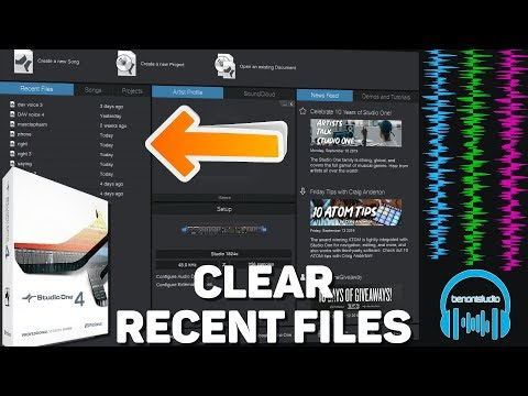 Studio One - Clear Recent Files List