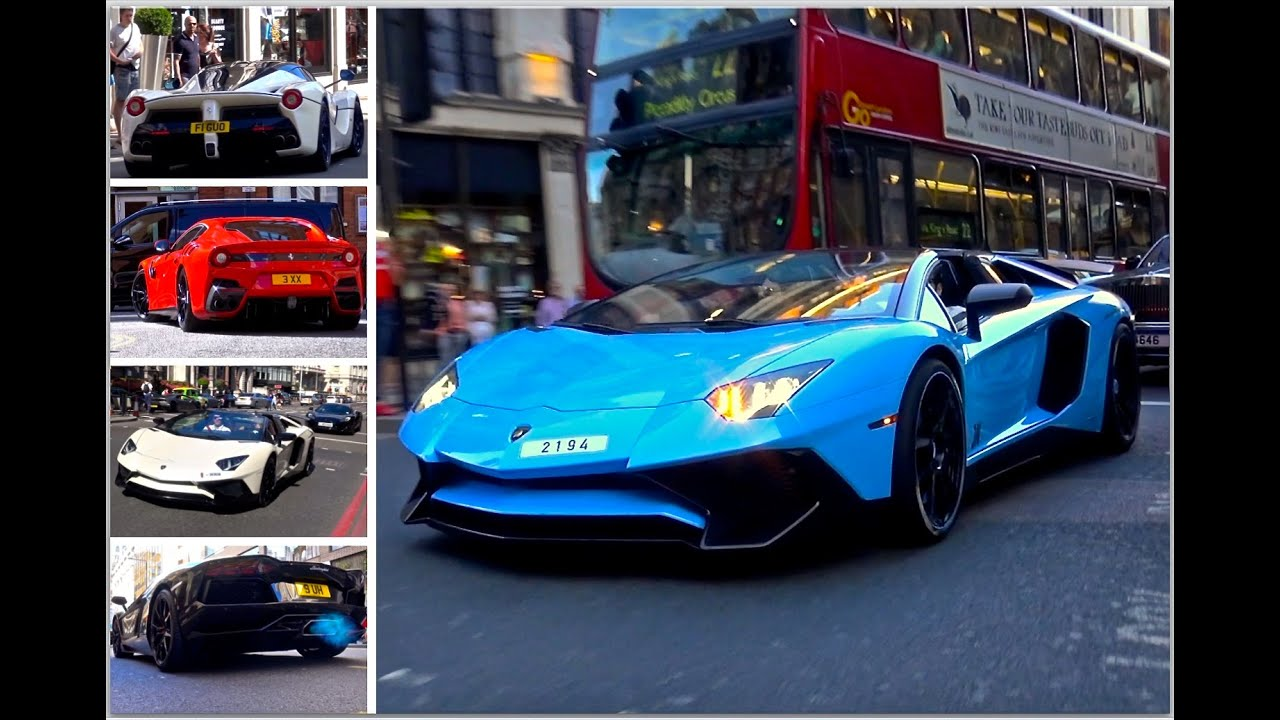 London Supercar Insanity #57 - Loud Aventadors, 2x F12 TDF, 2x 918 & More!!