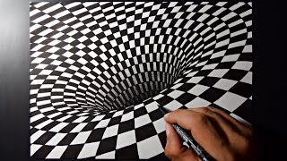 3D Hole Drawing On Paper