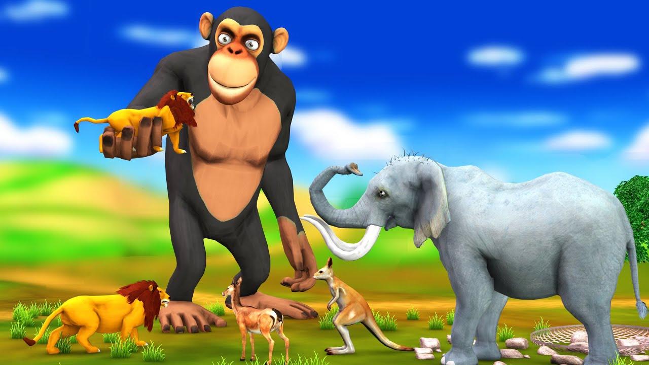 जंगल में विशालकाय बंदर Giant Monkey and Lion Hindi Kahaniya हिंदी कहनियाHindi Moral Stories in Hindi