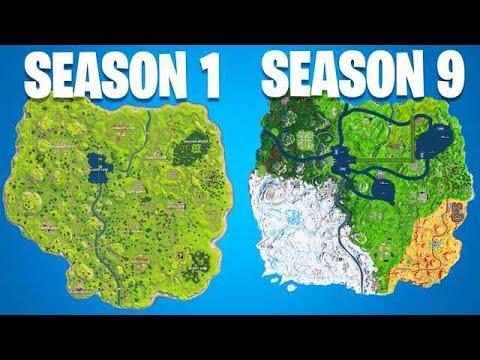 all of the fortnite map evolution s season 1 season 9 - picture of fortnite map season 9