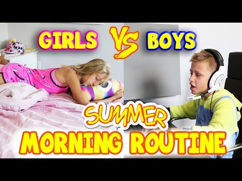 Thumbnail: GIRLS vs BOYS Summer Morning Routine