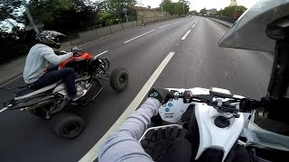 We Meet Again Yamaha Yfz450R & Raptor 700R On The Motorway Road Legal Quad Bike England