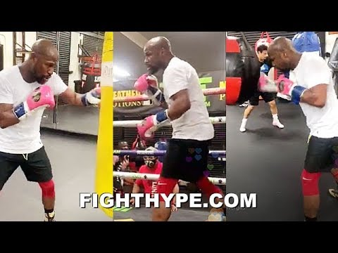 FLOYD MAYWEATHER NON-STOP TRAINING IN RING & ON HEAVY BAGS; GOING HARD AGAIN IN LATE-NIGHT SESSION