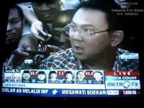 Jokowi-Basuki (Ahok) Diwawancara Media Setelah Hasil Quick-Count Menyatakan Pasangan JB Unggul