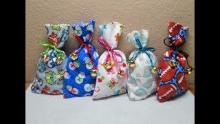 DIY~Make Cute & Easy NO-Sew Flannel Christmas Favor/Treat Bags!