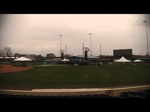 ZZTop Stage being Raised at Bowling Green Ballpark