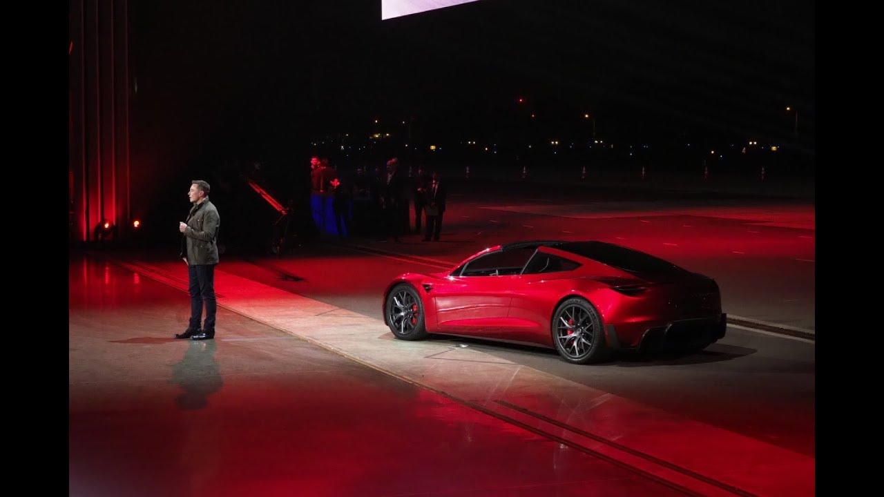 new tesla roadster 2020  elon musk has finally unveiled it
