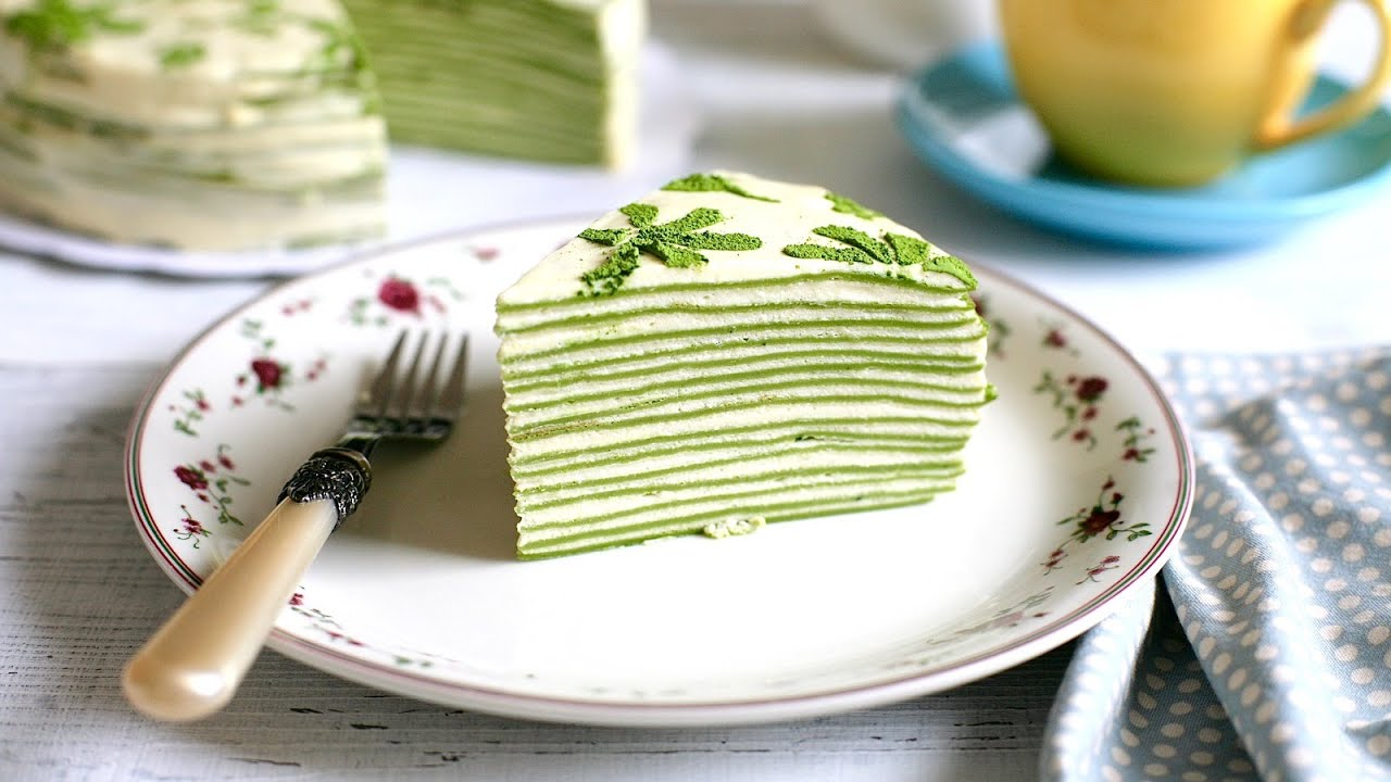 Matcha Mille Crepe Cake recipe (Green tea flavoured crepe cake) (with video)