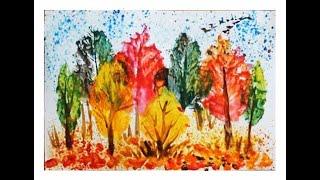 Осенний пейзаж поэтапно для детей. Печатание листьями.