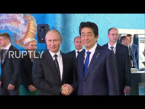 Russia: Putin greets Shinzo Abe and Park Geun-hye in Primorski Aquarium during EEF