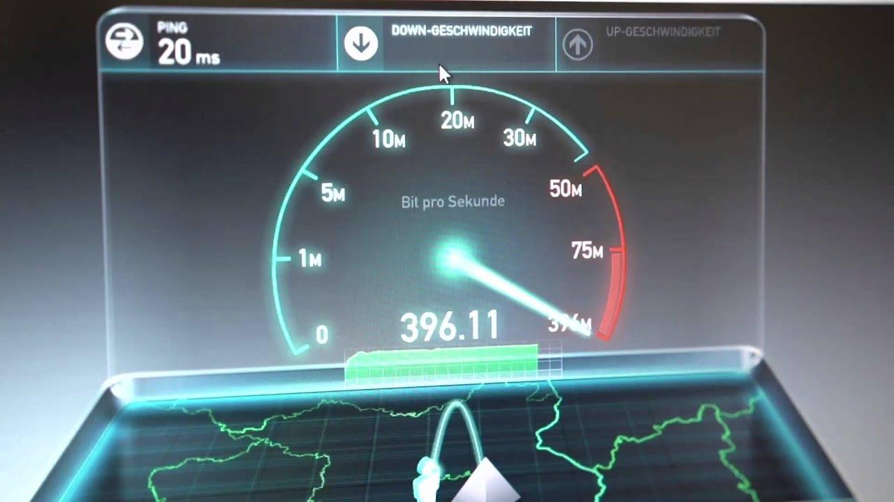 Tele Columbus: Erster Speedtest mit 400 Mbit/s - YouTube