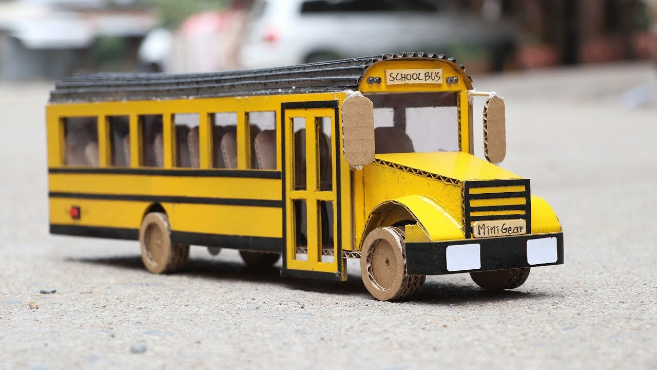 how to make a school bus cardboard school bus. Black Bedroom Furniture Sets. Home Design Ideas