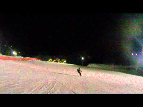 Night boarding, Mount Norquay - back to the lodge