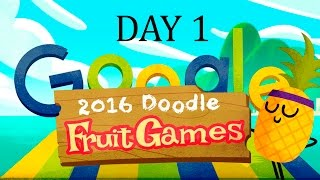 Fruit Games 2016 Day 1 -  Google Doodle - I did it! All 3 Stars