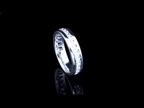 Platinum Lab. Широкое обручальное кольцо из платины с 19 бриллиантами ПК 021-01