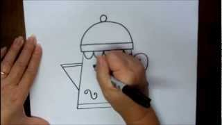 How to Draw a Coffee Pot Step by Step Teapot Easy Beginner Tutorial