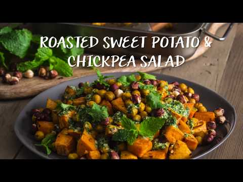 Roasted Sweet Potato & Chickpea Salad with Tahini Dressing by Niki Webster