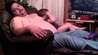 Son hits tired dad to stop snoring funny