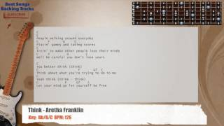 🎸 Think - Aretha Franklin Guitar Backing Track with chords and lyrics