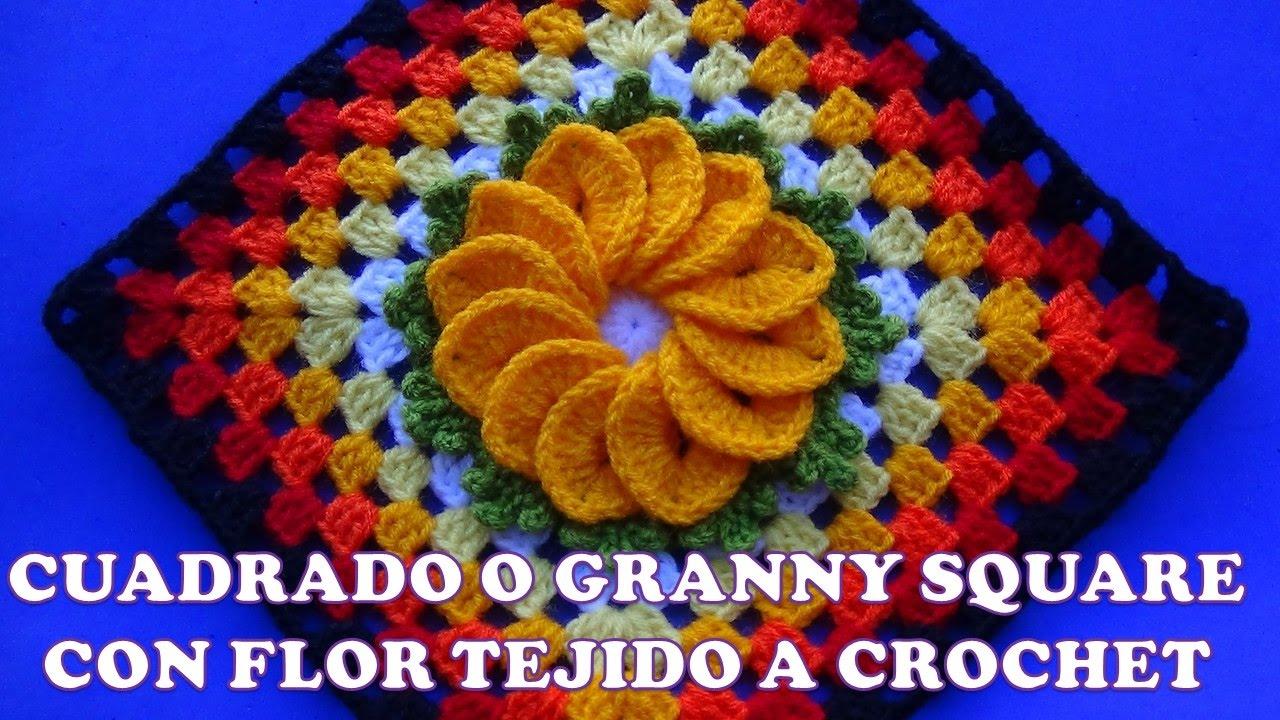 Cuadrado o Granny Square a crochet para colchas y cubrecamas con ...