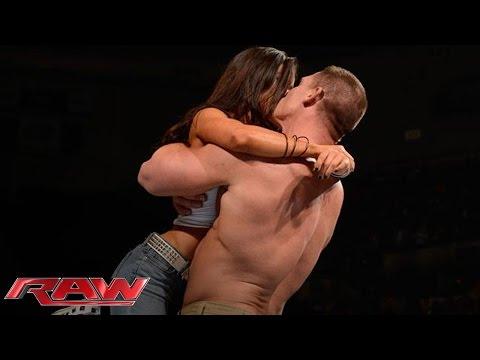 John Cena and AJ Lee kiss after Cena's victory over Dolph Ziggler: Raw, Nov. 26, 2012