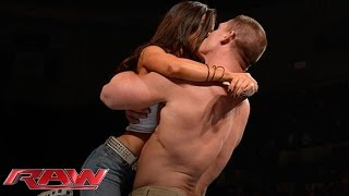 John Cena and AJ Lee kiss after Cena's victory over Dolph Ziggler: Raw, Nov. 26, 2012 streaming