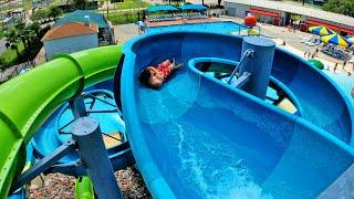 Blue Water Slide at Strawberry Water Park Pasadena