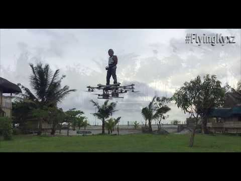 Flying Hoverboard Drone multicopter flying in the Storm