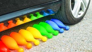 Crushing Crunchy & Soft Things by Car | Experiment Car vs Coca Cola, Fanta, Mirinda in Balloons