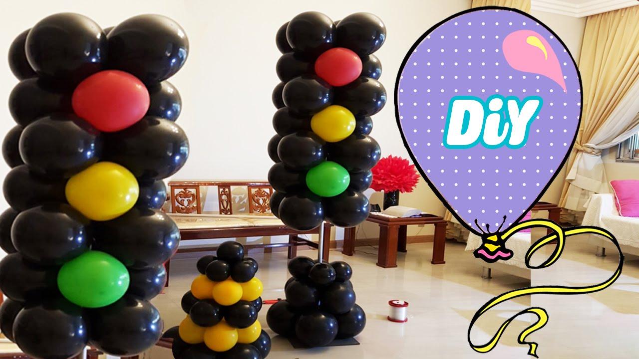 decoracao festa glow:Semáforo de Balões Passo a Passo – how to light balloons – YouTube