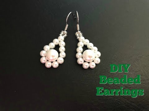 Quick & Easy to make beaded Earrings.Pearl beaded earrings