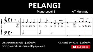 Gambar cover notasi balok pelangi - tutorial piano grade 1 - pencipta at.mahmud