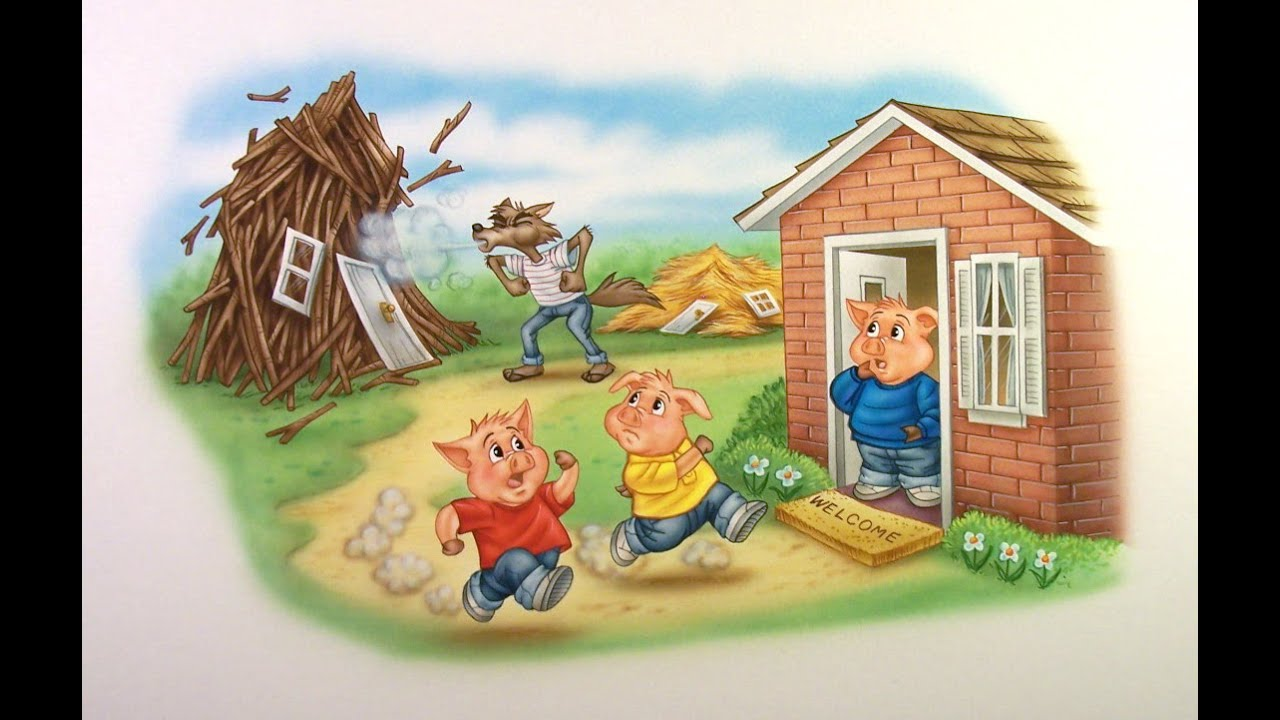 Bedtime story | The three little pigs - YouTube House Made Of Sticks Cartoon