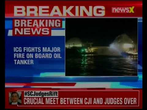 ICG fights major fire on board Oil Tanker anchored off Kandla Port; 26 members evacuated safely