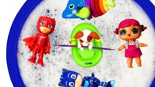 Bucket of Toys - Learn Characters and toys for Children Pj Masks, Paw Patrol, Barbie
