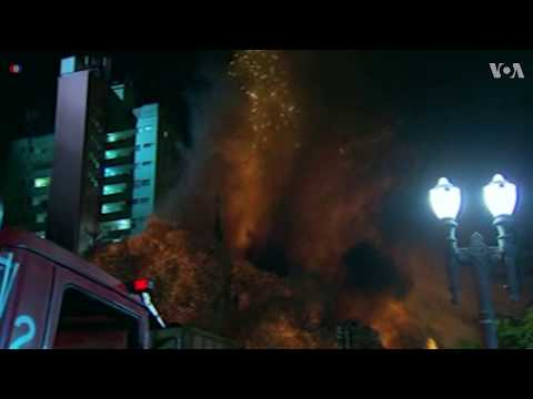 Dramatic Moment Blazing Building Collapses in Sao Paulo