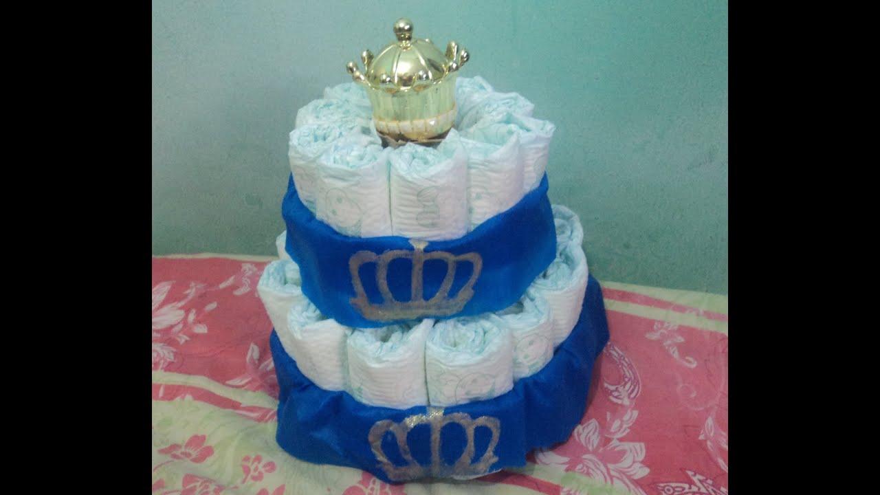 Excepcional Como fiz meu mini bolo de fraldas de dois andares, tema príncipe  JT76