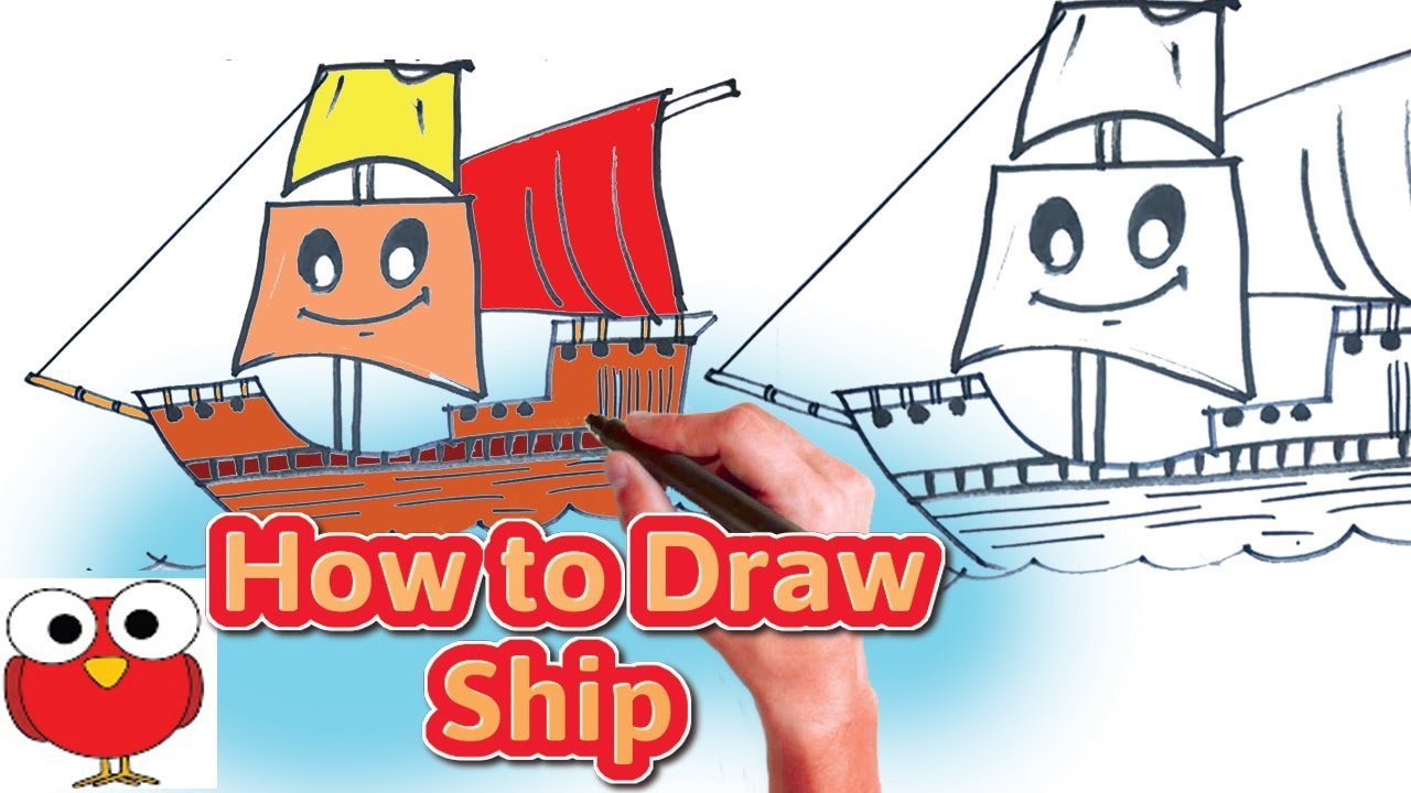 How to draw a Ship a Sailing Boat in the seaeasy lessondraw a