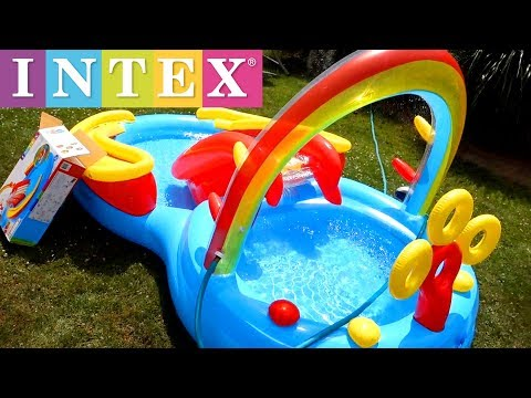 Intex Rainbow Ring Inflatable Play Center Pool Setup Tutorial