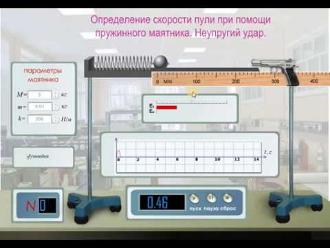 Виртуальные лабораторные работы по физике. Пружинный маятник.  Неупругий удар.