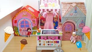 アイスクリームカートのおもちゃで遊びました。 とってもよくできている...